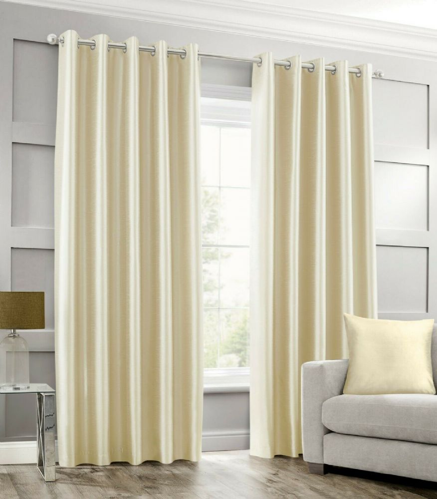 STYLISH RING TOP EYELET LINED CURTAINS PLAIN FAUX SILK CREAM COLOUR